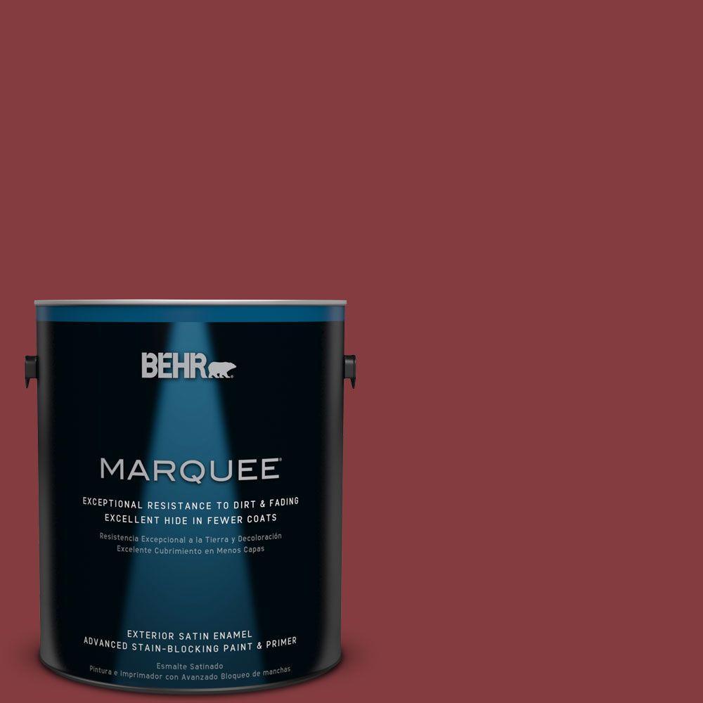 BEHR MARQUEE 1-gal. #M140-7 Dark Crimson Satin Enamel Exterior Paint