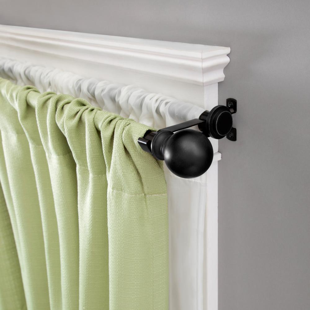 66 in. - 120 in. Double Curtain Rod in Matte Black