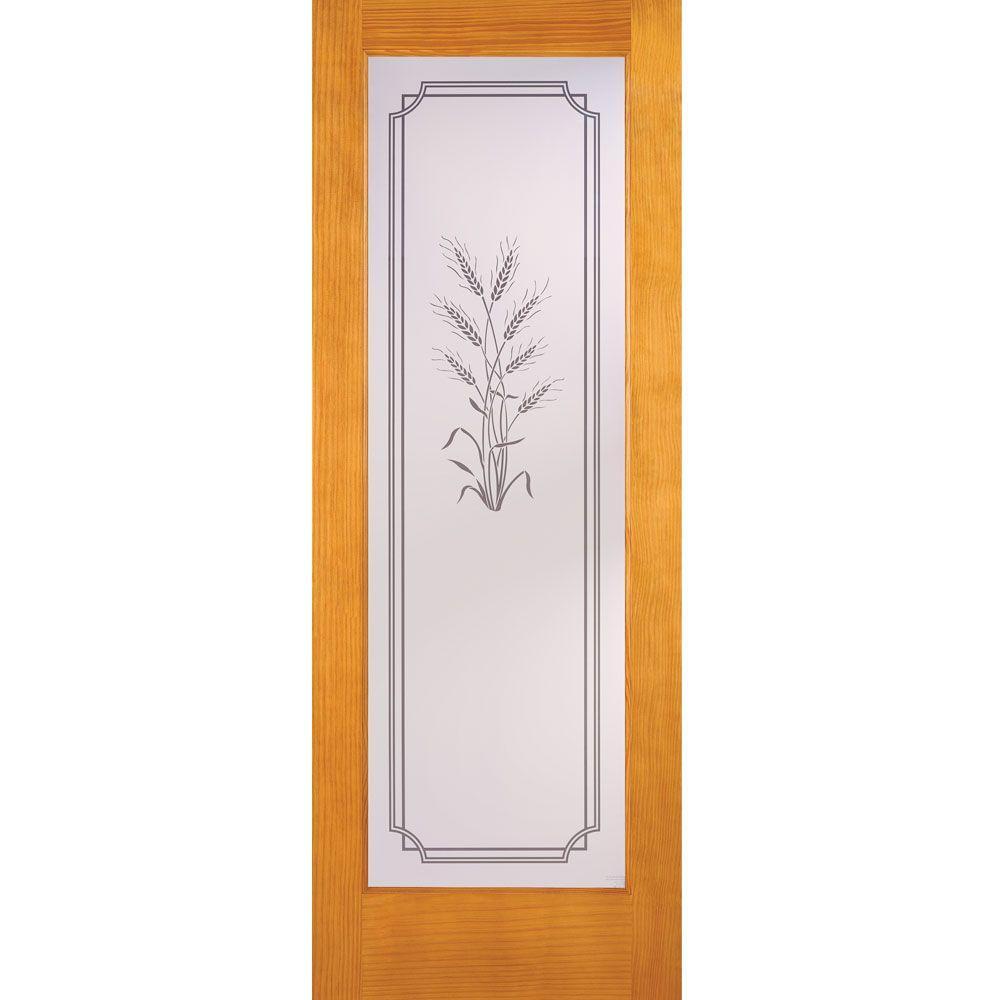 24 in. x 80 in. 1 Lite Unfinished Pine Harvest Woodgrain