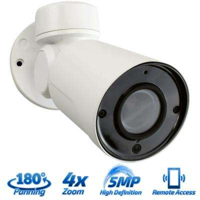 Wired 5MP Indoor/Outdoor PTZ IP PoE Surveillance Camera IR Distance 130 ft. 4X Optical Zoom HD 2.8-12 mm Lens