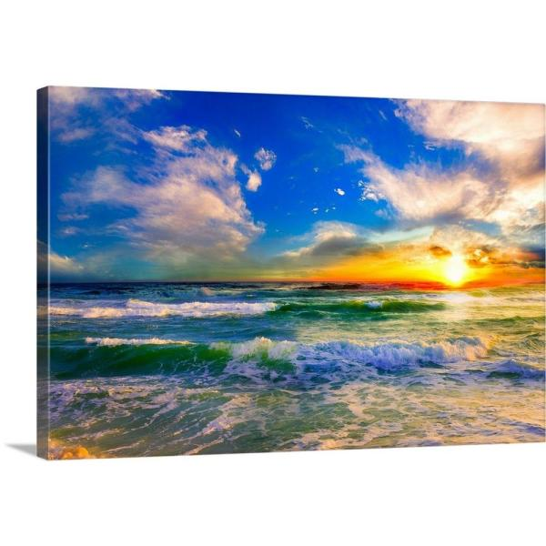 LARGE SEA CANVAS ART PRINT BLUE SEASCAPE WALL PICTURE