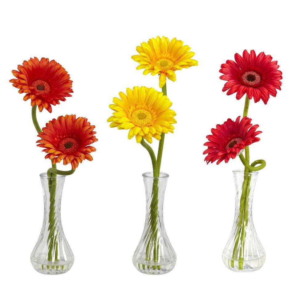 null 13 in. H Assortment 1 Gerber Daisy with Bud Vase (Set of 3)