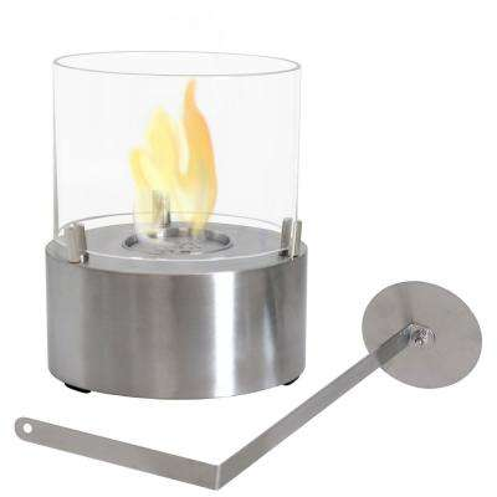 Tre Poli 7 in. Tabletop Bio-Ethanol Fireplace in Stainless Steel