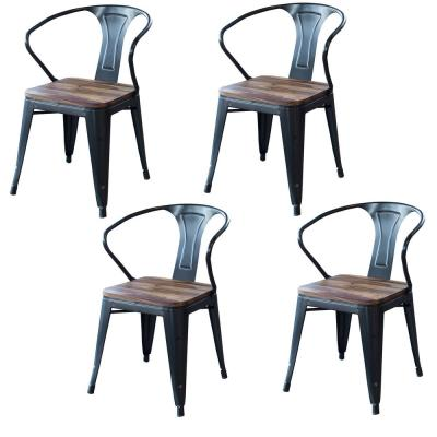 Black Dining Chair Set with Sheesham Top (4-Piece)