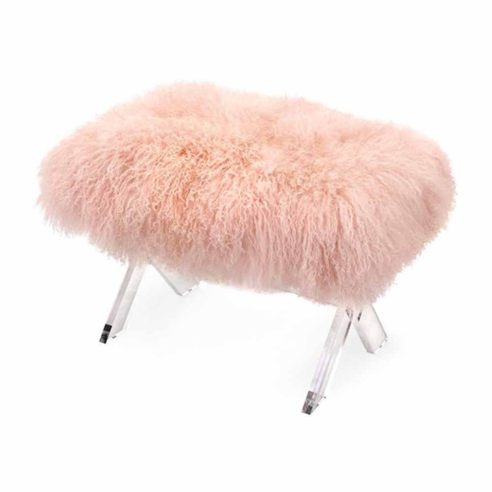 Camlin Pink Tibetan Fur and Acrylic Bench
