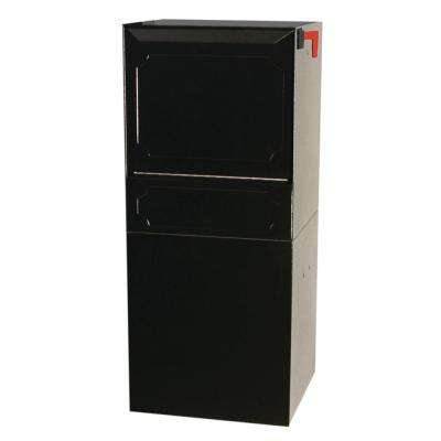 Parcel Protector Vault Black Post/Column Mount Locking Mailbox with Outgoing Mail Clip and Carrier Service Flag
