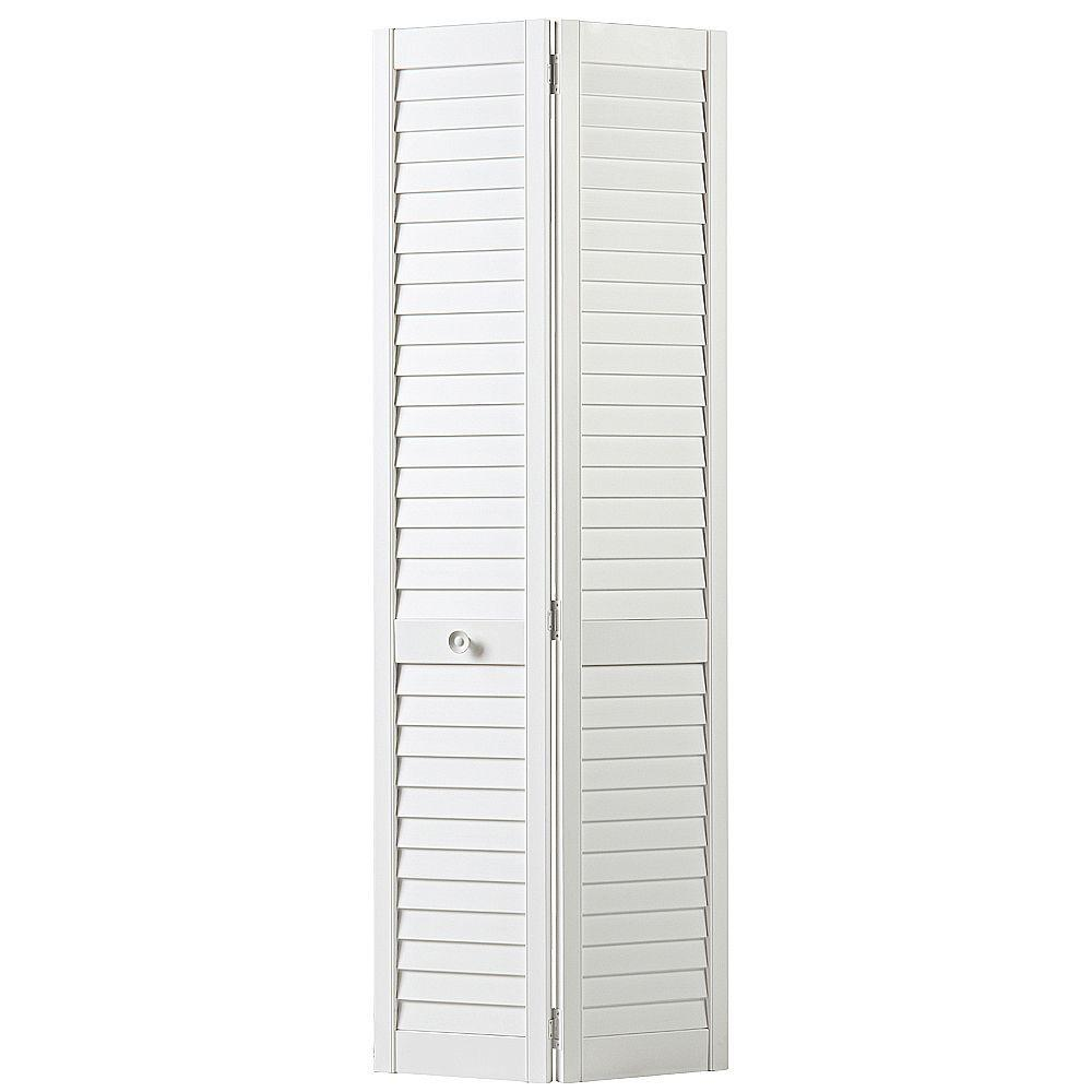 Masonite 30 in. x 80 in. Plantation Full-Louver Painted Pine Interior Closet Bi-fold Door