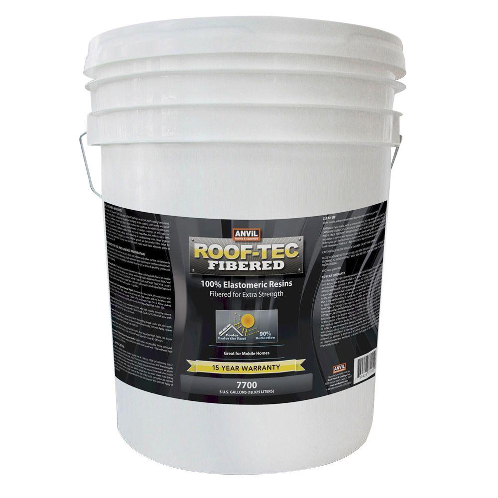 Anvil Roof Tec 5 Gal Fibered White Elastomeric Reflective