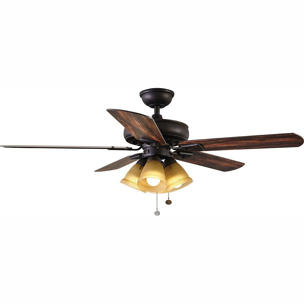 hampton bay Lyndhurst 52 in. LED Oil-Rubbed Bronze Ceiling Fan with Light Kit