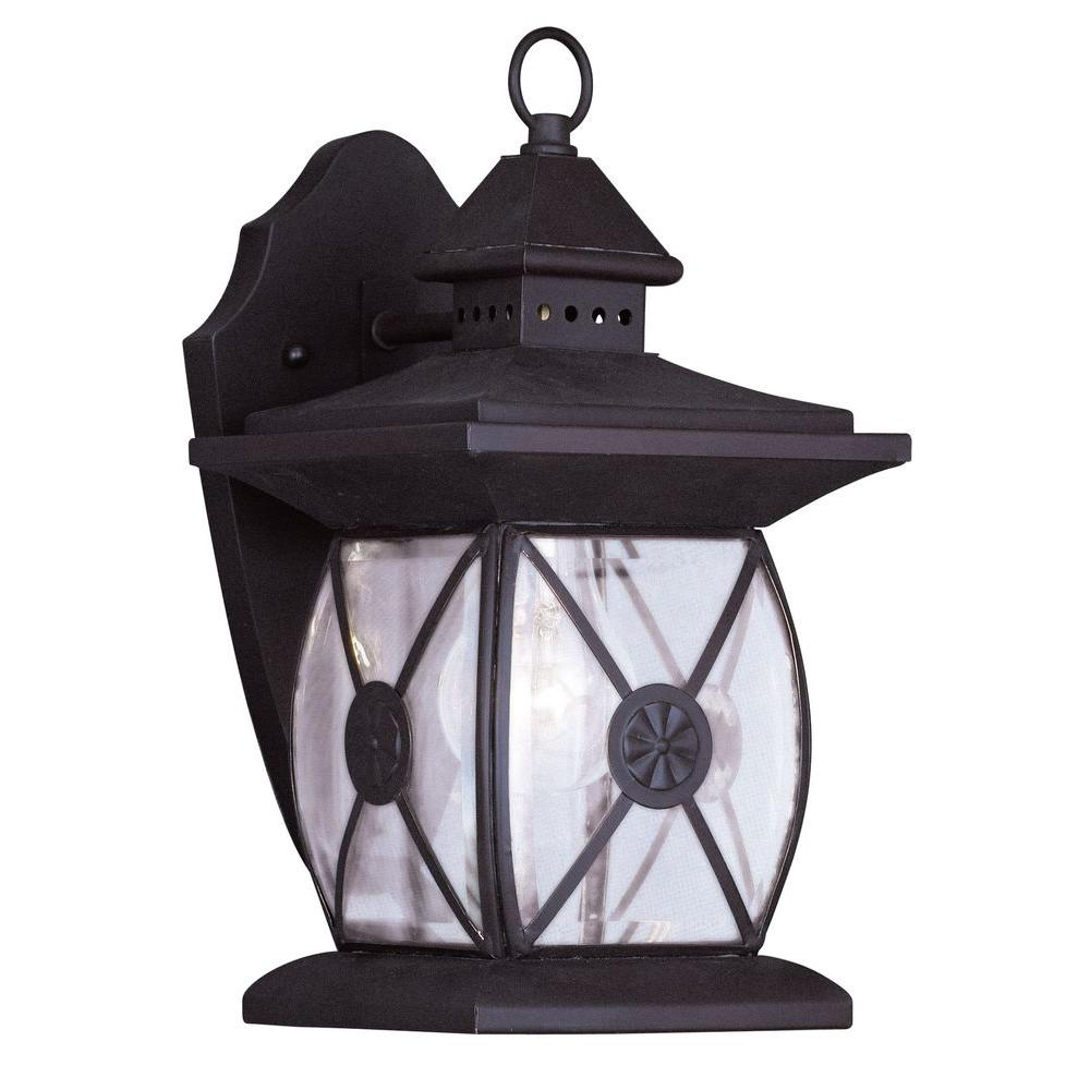 Livex Lighting 1-Light 13 in. Bronze Finish Clear Beveled Glass Outdoor Wall Lantern