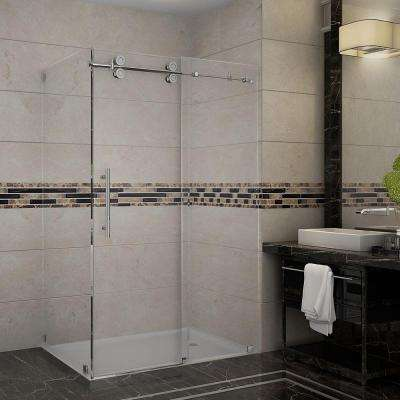 Langham 48 in. x 33.8125 in. x 75 in. Completely Frameless Shower Enclosure in Stainless Steel with Clear Glass