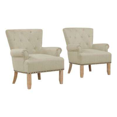 Chauncey Oatmeal Tan Button Tufted Arm Chair (Set of 2)