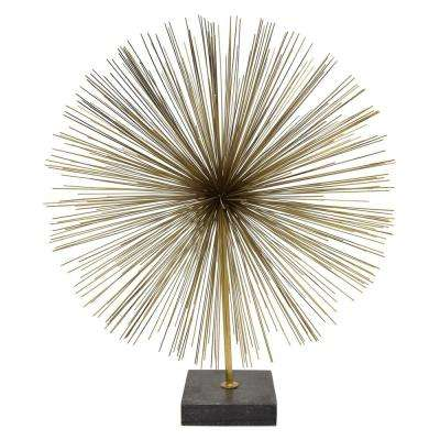 21 in. Gold Metal Urchin with Marble Base