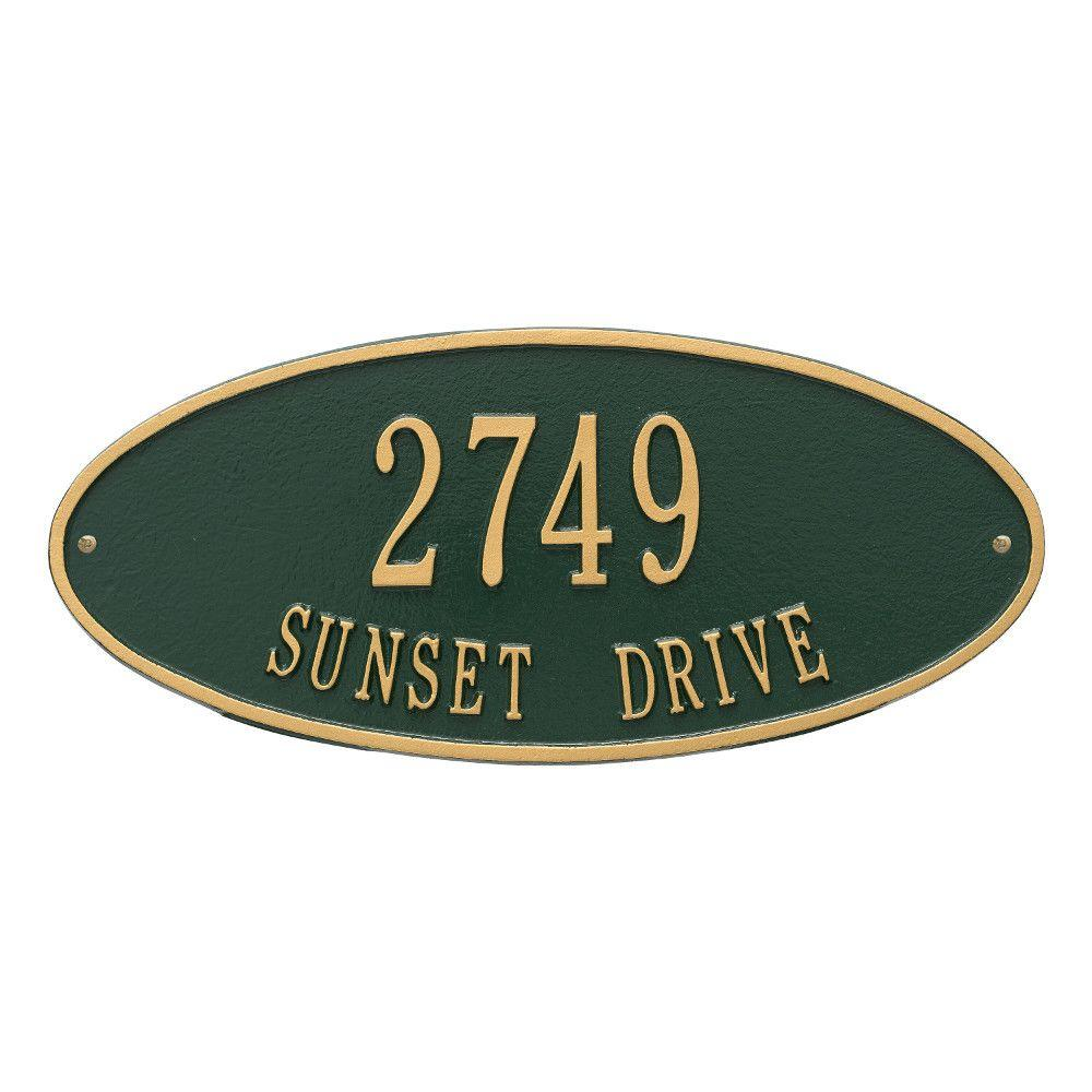 Whitehall Products Madison Standard Oval Green/Gold Wall 2-Line Address Plaque