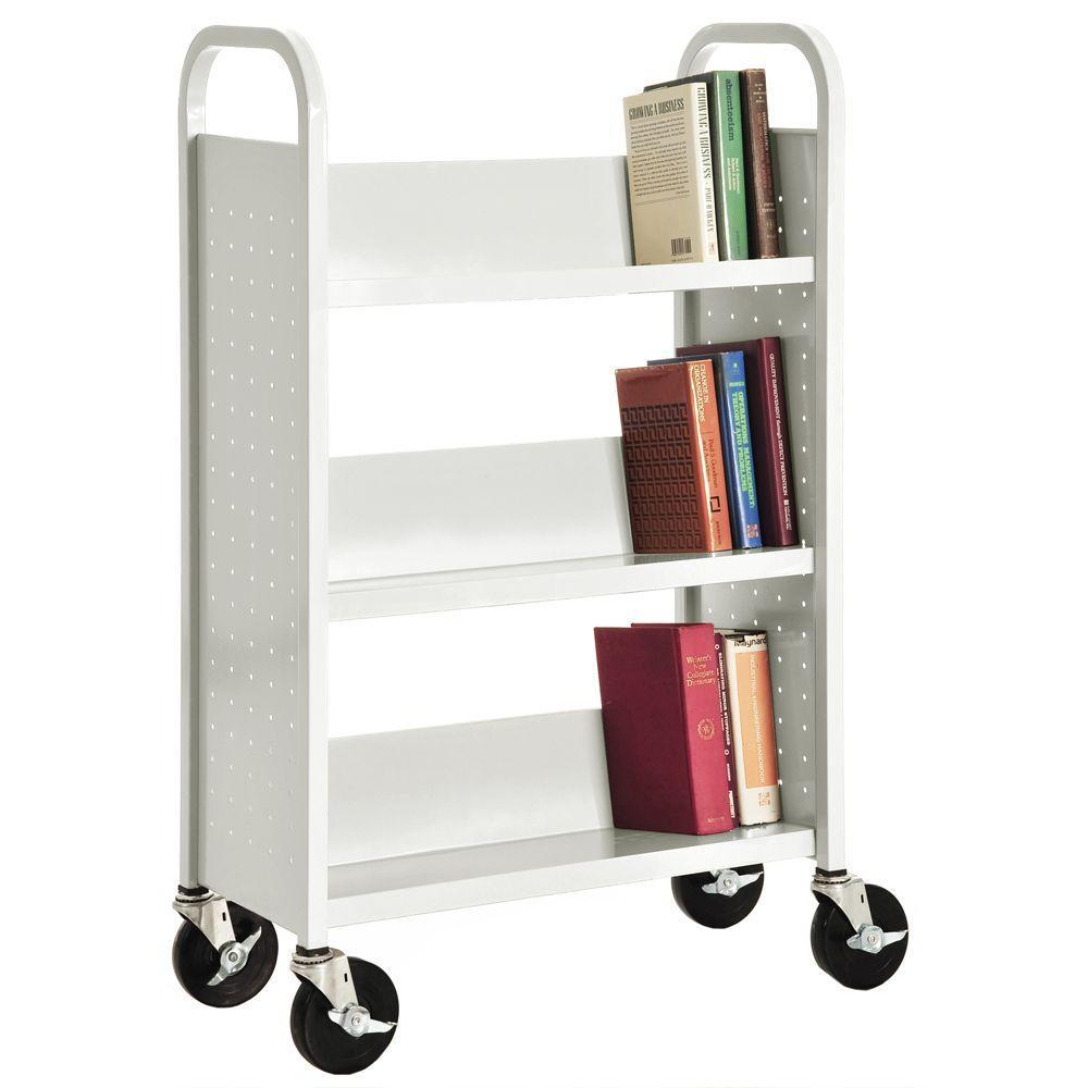 White Mobile Steel Bookcase