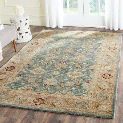 Antiquity Teal Blue/Taupe 6 ft. x 9 ft. Area Rug