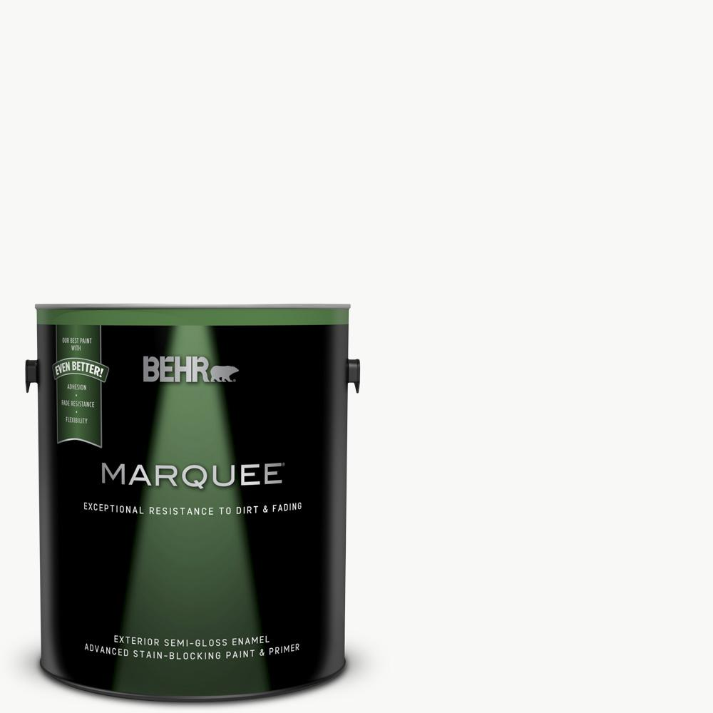 BEHR MARQUEE BEHR MARQUEE 1 gal. Ultra Pure White Semi-Gloss Exterior Paint and Primer in One