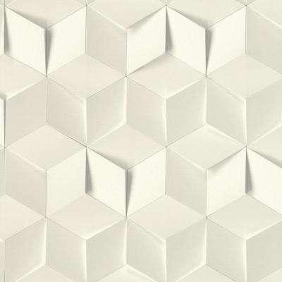 56.4 sq. ft. Catteau Off-White Cube Wallpaper
