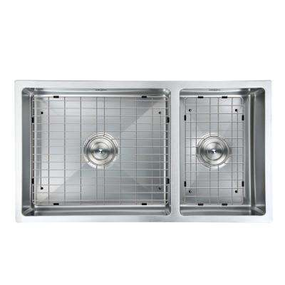 Prestige Series Undermount 32 in. Double Bowl Kitchen Sink in Satin Stainless Steel with Grids and Strainers