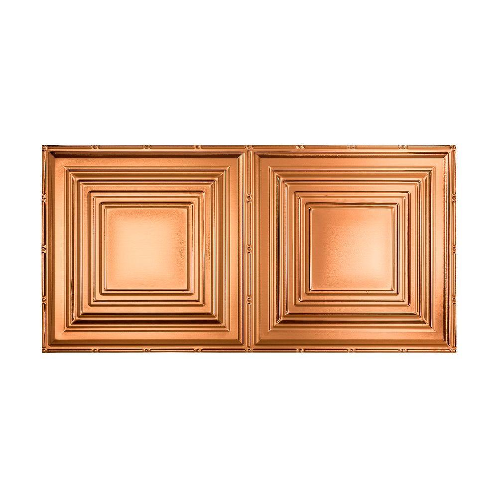 Fasade Traditional 3 - 2 ft. x 4 ft. Glue-up Ceiling Tile in Polished Copper
