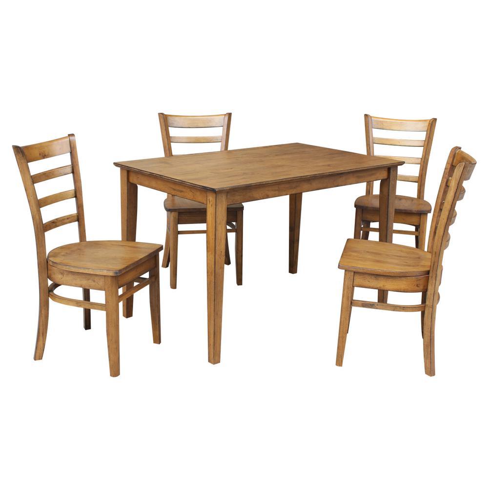 Dining Essentials 5 Piece Distressed Pecan Solid Wood Set