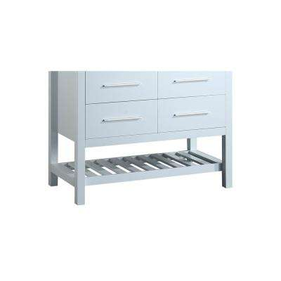 Bosconi 43 in. Main Cabinet Only in White with Matte/Polished Chrome Hardware