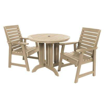 Weatherly Tuscan Taupe 3-Piece Recycled Plastic Round Outdoor Dining Set