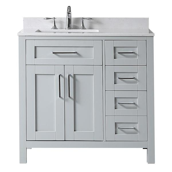 Riverdale 36 in. W x 21 in. D Vanity in Dove Grey with a Cultured Marble Vanity Top in White with white Sink