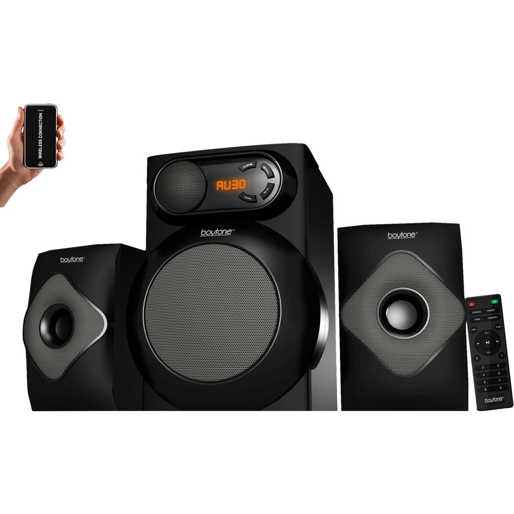 BT-220 2.1 Wireless Bluetooth Speaker System, Black A full speaker system with incredible features. The Wireless Bluetooth 2.1 Multimedia Powerful Speaker Bass System includes an FM Radio. The USB Audio Port allows for entertainment and serious sounds for music, movies and games. Color: Black.