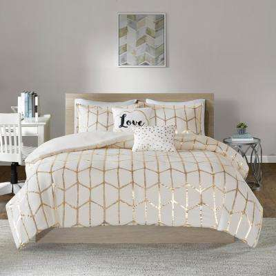 Khloe 5-Piece Ivory/Gold Full/Queen Duvet Cover Set