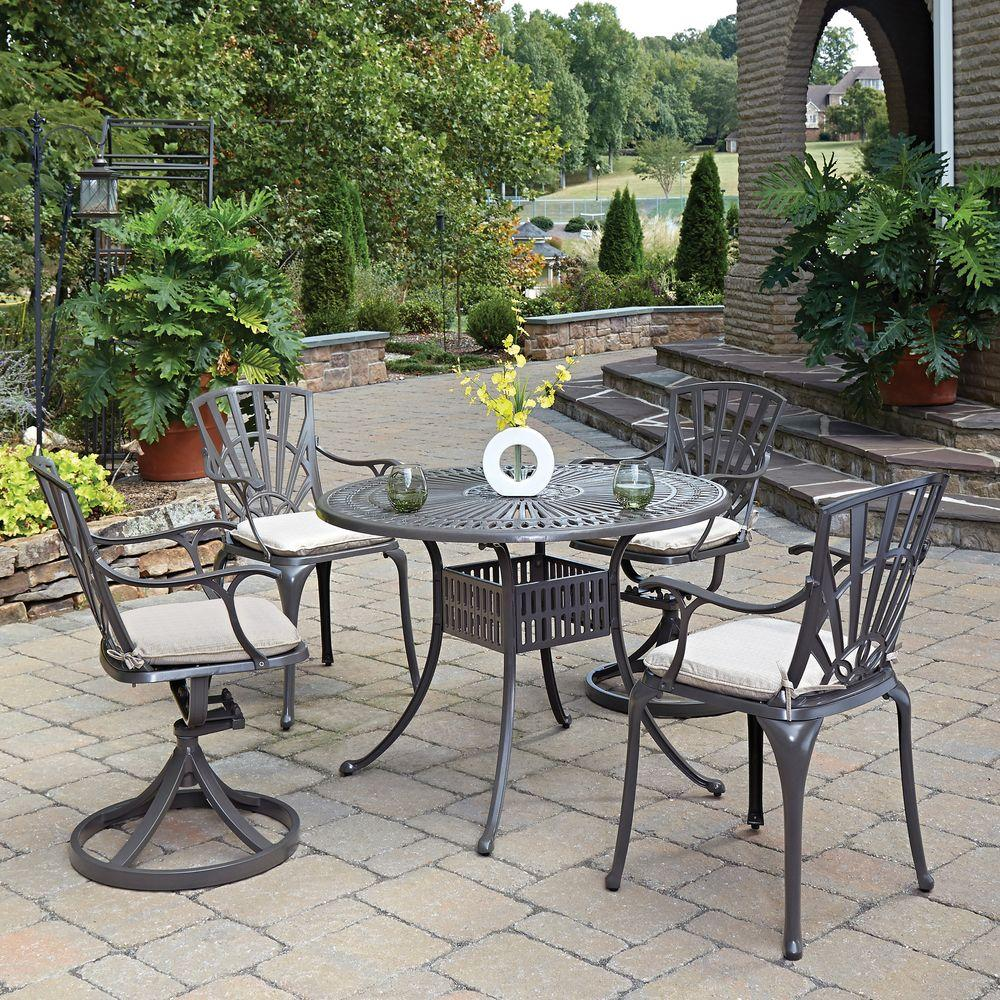 Superieur Home Styles Largo Taupe 5 Piece Patio Dining Set With Gray Cushion