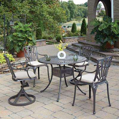 Largo Taupe 5-Piece Patio Dining Set with Gray Cushion