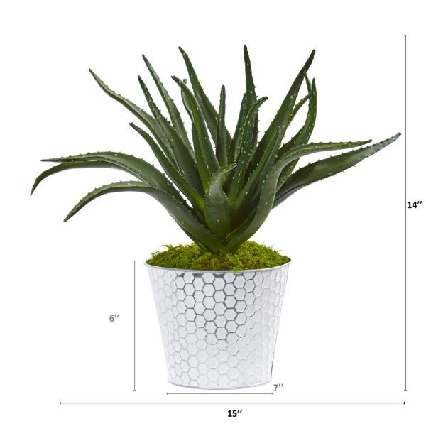 Nearly Natural 14 In Aloe Artificial Plant In White And Tin Embossed Planter 8895 The Home Depot