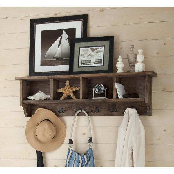 Pomona 48 In Metal And Reclaimed Wood Entryway Coat Hook With Storage Cubbies In Rustic Natural