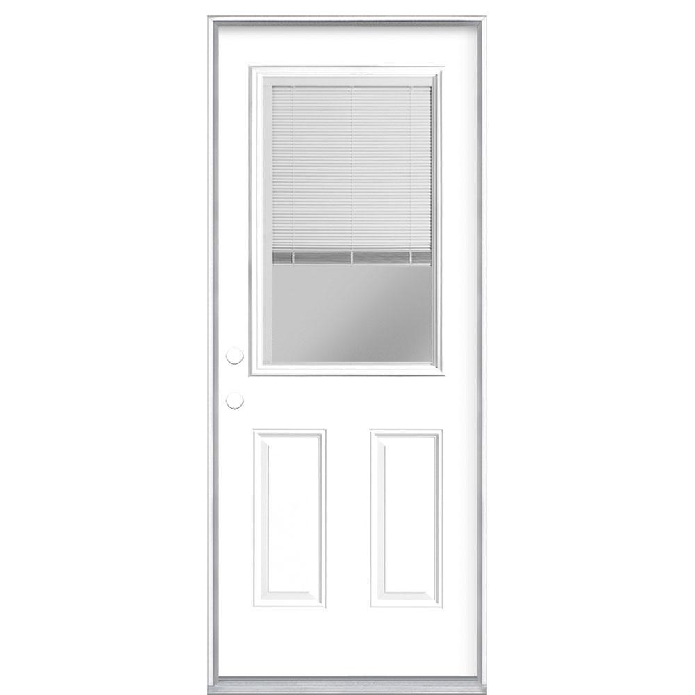 Masonite 32 in. x 80 in. Premium Half Lite Mini Blind Ultra-Pure White Right-Hand Inswing Primed Steel Prehung Front Door