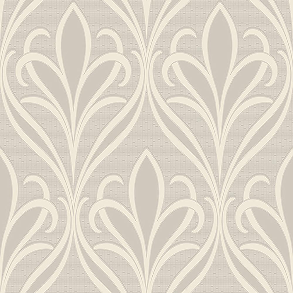 57.8 sq. ft. Vivian Dove Nouveau Damask Wallpaper