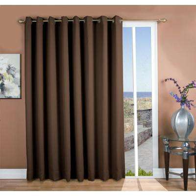 Ultimate Blackout 112 in. W x 84 in. L Polyester Blackout Patio Panel in Espresso