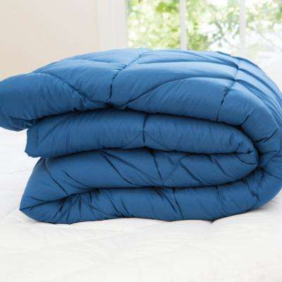 Chevron Blue Microfiber Down Alternative Queen Blanket