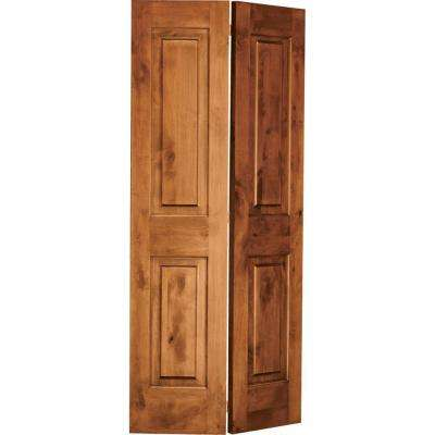 36 in. x 80 in. Rustic Knotty Alder 2-Panel Square Top Solid Core Unfinished Wood Interior Bi-Fold Door