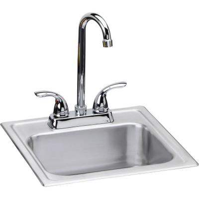 20 Gauge Stainless Steel 15 in. 2-Hole Drop-in Bar Sink
