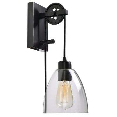 Industrial Pulley 1-Light Clear Glass Plug-in Wall Sconce with Bulb