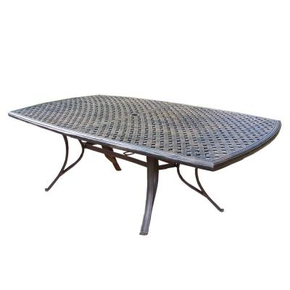 Modern Antique Bronze Rectangular Cast Aluminum Outdoor Patio Dining Table
