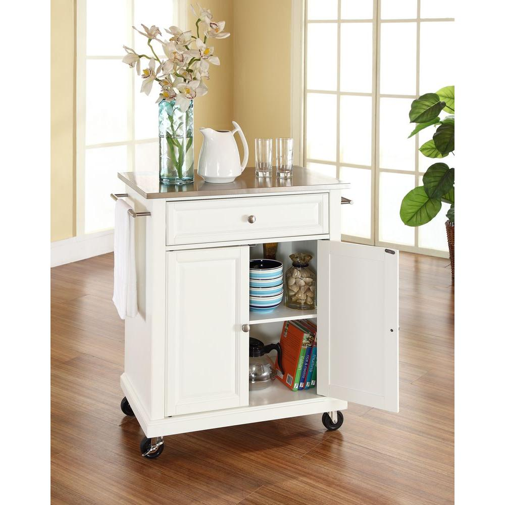 White Kitchen Cart With Stainless Steel Top