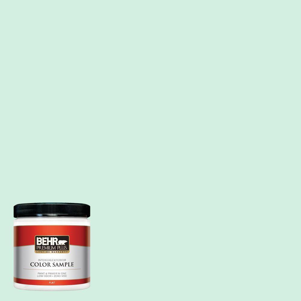 BEHR Premium Plus 8 oz. #480C-2 Pastel Jade Flat Interior/Exterior Paint and Primer in One Sample