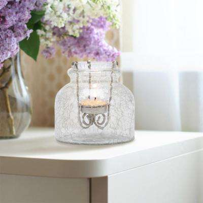 4 in. Clear Crackle Glass Jar with Removable Antique Copper Metal Tealight Candle Holder