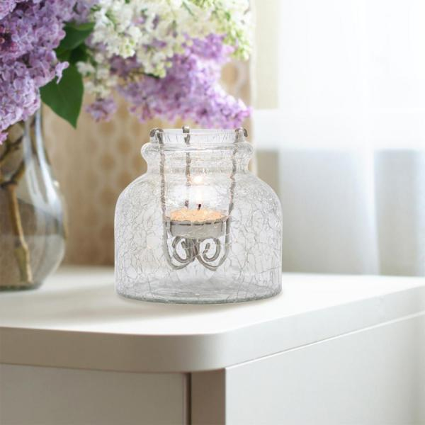 Stonebriar Collection 4 in. Clear Crackle Glass Jar with Removable Antique Copper Metal Tealight Candle Holder