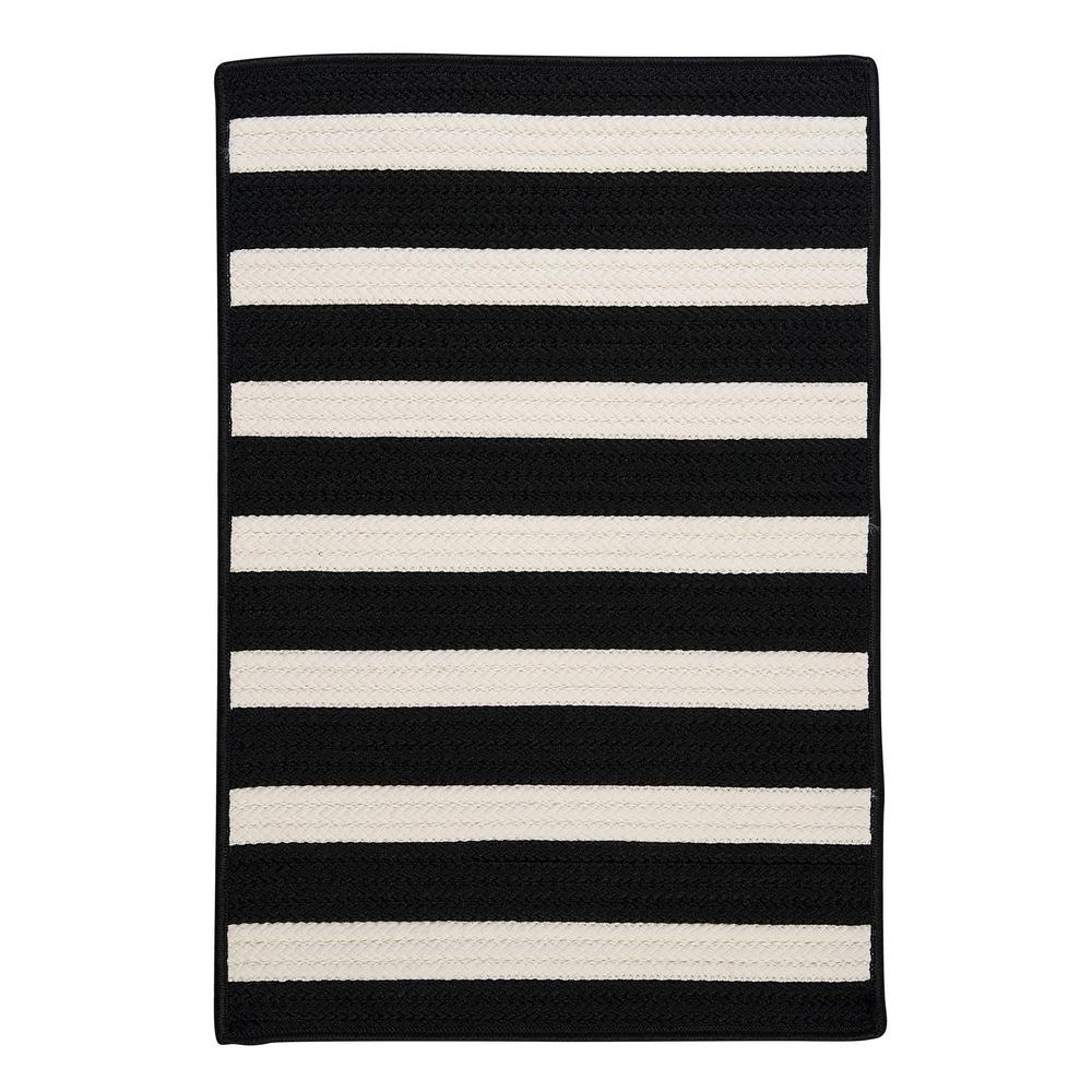 Home Decorators Collection Baxter Black White 2 ft. x 6 ft. Indoor/Outdoor Braided Runner
