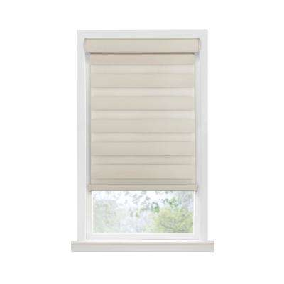Celestial Room Darkening Tan Cordless Double Layered Privacy Roller Shade - 35 in. W x 72 in. L