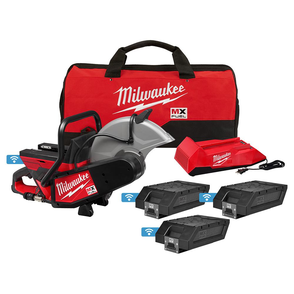 Milwaukee MX FUEL Lithium-Ion Cordless 14 inch Cut Off Saw Concrete Kit w/ (3) Batteries and Charger