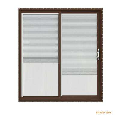 72 in. x 80 in. V-2500 Brown Painted Vinyl Right-Hand Full Lite Sliding Patio Door w/White Interior & Blinds